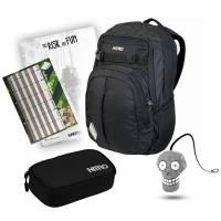 Nitro Chase Rucksack Black 35L + Pencil Case XL Schulset mit Reflektor, Block & Stundenplan