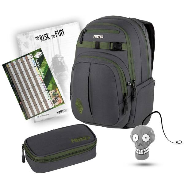 Nitro Chase Rucksack Pirate Black 35L + Pencil Case XL Schulset mit Reflektor, Block & Stundenplan